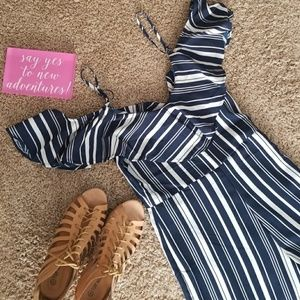 Japna off shoulder striped jumpsuit